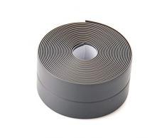 Cinta Adhesiva de Sellado PE impermeable para baño, cocina, inodoro, ducha, bañera, sellador de azulejos, 38mm*3.2m (Gris)