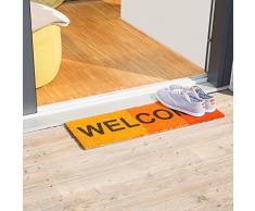Relaxdays – Felpudo WELCOME para la entrada del hogar, 1.5 x 75 x 25 cm, Fibra de coco y PVC, antideslizante, Color rojo