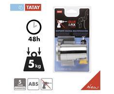 Tatay 3360809 Soporte Ducha, Plástico y ABS, Cromado, 8 x 7 x 6.5 cm