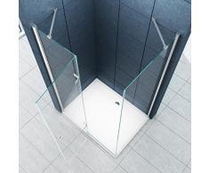 La entrada en curva Cabina de ducha Ducha Stuttgart 90 x 75 x 200 cm / 8 mm / con plato de ducha y sifón