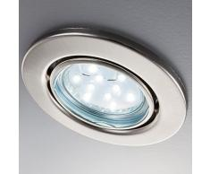6x3W LED Focos empotrables giratorio IP23 Ø86mm I Luz blanco cálido 3000K 250lm I profundidad 60mm I Metal en color níquel mate I Downlight