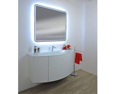 Mueble baño suspendido moderno Touch blanco Fresno, tamaño cm 120, lavabo cristal sin espejo a LED
