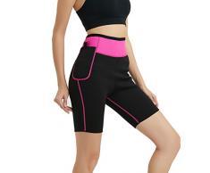 NOVECASA Pantalones Cortos de Sudoración con Bolsillo para Teléfono Móvil Mujer Neopreno Sauna Fitness Yoga Pantalones Adelgazante Medias Slimming Quema Grasa (XXL, Rosa)
