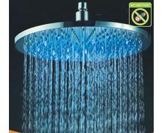 """Gowe montado en la pared cromo pulido 3 colores cambiantes redonda (16 """"Alcachofa de ducha Cabeza de ducha efecto lluvia"""