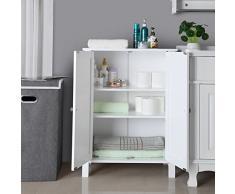 VASAGLE Armario para baño Armario de almacenaje Dos puertas Balda ajustable en altura 60 x 30 x 80 cm Blanco BCB60W