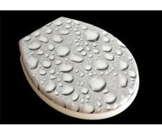 ADOB - Asiento de inodoro con tapa blanda, diseño gotas