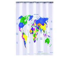 Mapa del mundo cortina de ducha de plástico (180 x 180 cm)