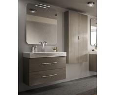 Arredobagnoecucine Mueble de baño Moderno New York suspendido alerce, Medida, con Espejo, Lavabo y Columna