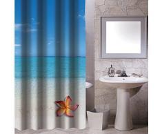 MSV Paradise - Cortina de baño, 100% poliéster, multicolor