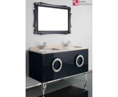 Doble lavabo lavabo de diseño de lujo tocador de mármol 150x85x53 Negro Nuevo