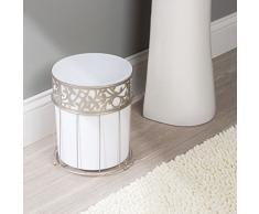 mDesign Papelera Papelera para baño, la oficina, la cocina, color blanco satinado
