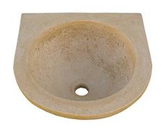 CATART Pila LAVAMANOS Rustica Redonda para Interior O Exterior EN Piedra 40X40X16cm.