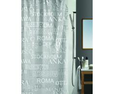 Spirella colección Cities, Cortina de Ducha Textil 180 x 200, 100% Polyester, Plateado, PEVA