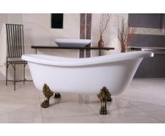 Independiente de baño de lujo Nouveau Roma Blanco / Oro Viejo 1560mm - baño barroco - bañera antigua retro