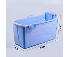 PIAOLING Tina de baño para adultos, tina de baño plegable grande con tapa, baño de plástico espesado, L103 * W50 * H68CM ( Color : Blue , tamaño : A )