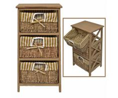Landhaus cómoda mesa auxiliar estante de baño de color marrón estilo antiguo y de 3 cestas de mimbre