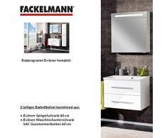 Fackelmann de muebles de baño Set B. Clever de 2 piezas 60 cm Color Blanco con lavabo armario Incluye fundido (mármol & LED Armario con espejo