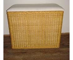 Cesto para la ropa sucia 3 compartimentos clasificador baúl ratán miel con tres compartimentos nuevo taburete