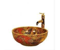Lavabos de lavamanos de baño de cerámica de color chino antiguo occidental Lavamanos a mano Diameter41 * High15CM A