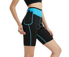 NOVECASA Pantalones Cortos de Sudoración con Bolsillo para Teléfono Móvil Mujer Neopreno Sauna Fitness Yoga Pantalones Adelgazante Medias Slimming Quema Grasa (L, Azul)
