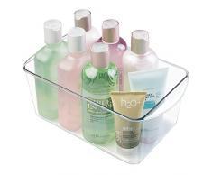 mDesign práctica caja organizadora para cualquier habitación - perfecto organizador de maquillaje - accesorio de baño para el lavabo - transparente