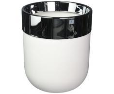 Umbra Junip Blanco desagüe de bañera Puede–Elegante cesto de Basura Papelera para baño con Elegante Tapa de Cromo de Acero Inoxidable para Sujetar y Ocultar Bolsa de Basura
