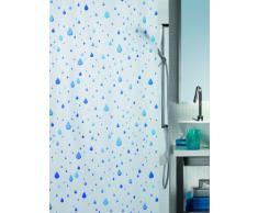 Spirella 180 x 200, Azul colección Waterdrop, Cortina de Ducha Textil, 100% Polyester, PEVA