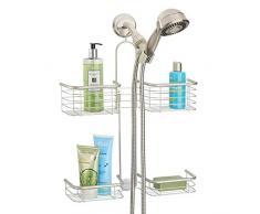mDesign Organizador de ducha para colgar sobre el cabezal – Cesta de ducha  sin taladro con 3a5d3bc40a29