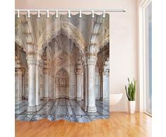 CDHBH Ganchos para cortina de ducha con diseño de templo para decoración de la fuerza en Agra Akbar y arquitecto de Mughal para ver en la cortina de ducha Agra resistente al moho de 180 x 180 cm