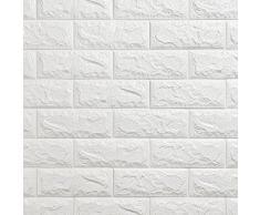 KINLO 15 Piezas 77 x 70 cm Pegatina de Pared 3D PE Espuma DIY 3D Ladrillo Pegatina Pared Sticker Autoadhesivo Wall Paneles Impermeable Azulejos de la Pared del Arte para Decoración (Blanco)