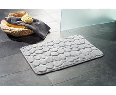 "Alfombrilla de baño // Alfombrilla de baño con diseño ""London"" de piedra - con aspecto de madera de!, gris, 50 x 80 cm"