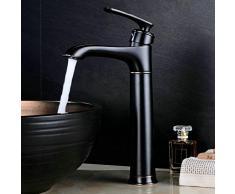 Estilo rústico alta baño agua retro lavabo monomando, Alto accesorio de grifo monomando lavabo batería F. cuarto de baño caño alto pulido latón ORB, Negro