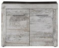 trendteam 1259-301-68 - Mueble bajo lavabo (72 x 56 x 34 cm), efecto pino envejecido, color blanco