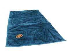 Gözze - Alfombrilla de baño, diseño de flores, Microfibra de poliéster, azul, 60 x 100