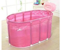 Bañera, Soporte Plegable Plástico Práctico Portátil Del Acero Inoxidable De La Bañera Del Baño De La Sauna Del Adulto Del Niño TINGTING (Color : Pink, Size : 110 * 60 * 60cm)