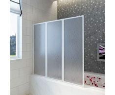 vidaXL Pantalla de Ducha Bañera Pared de Ducha Pantalla de Vapor 117 x 120 cm 3 Paneles Plegables