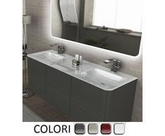 Bagno Italia Mueble de baño, decoración Liverpool, suspendido, 140cm Doble lavamanos en Cristal Blanco con 4 Colores Muebles