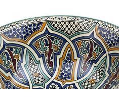 Lavabo de baño marroquí de cerámica de Irán pintada a mano - Circular, Pintada de dentro hacia fuera - Diámetro 40 cm Altura 16 cm