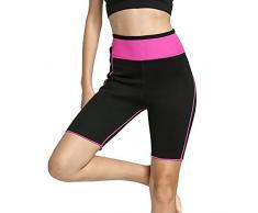 NOVECASA Pantalones Cortos de Sudoración con Bolsillo para Teléfono Móvil Mujer Neopreno Sauna Fitness Yoga Pantalones Adelgazante Medias Slimming Quema Grasa (XXXL, Rosa)