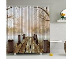 Cortinas baño de poliester impermeable de la impresión 3D, J-KK cortinas decorativa del baño del poliéster de los textiles con el gancho plástico de 12 PC (180 * 180cm), Puente de madera