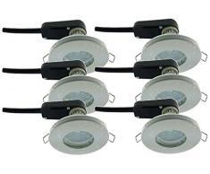 Trango®, blanco foco IP44 TG6729IP 066B baño/ducha/Sauna incluye 6 x GU10 3 W Bombilla LED 3000 K w-weiß & empotrable (acero inoxidable lacado