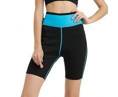NOVECASA Pantalones Cortos de Sudoración con Bolsillo para Teléfono Móvil Mujer Neopreno Sauna Fitness Yoga Pantalones Adelgazante Medias Slimming Quema Grasa (XL, Azul)