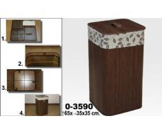 DonRegaloWeb - Portarropa - cubo para la ropa sucia de bambú y con forma cuadrada en color marrón oscuro y forro con hojas.