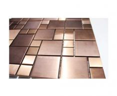 Acero inoxidable de mosaico cristal mosaico de azulejos de pared suelo de acero inoxidable-mosaico - cobre-look - 1 para