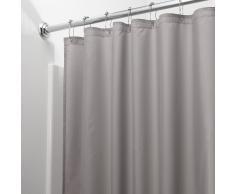 iDesign Cortinas de baño de tela, cortina impermeable de poliéster con tamaño de 183,0 cm x 183,0 cm, cortina de ducha lavable con borde reforzado, gris