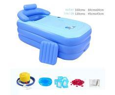 Práctica bañera inflable portátil para niños de adulto Sauna Bath La bañera plegable QLM-bañera inflable y baño de inmersión inflable (Color: azul) , blue , 160cm