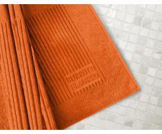 Burrito Blanco Alfombra de Baño Lisa de Rizo Algodón 100% de 50x80 cm, Naranja Oscuro