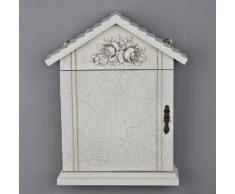 Caja de seguridad flor puerta armario de llaves de madera blanco y beige envejecido Rosali