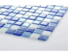 1QM transparente cristal mosaico azulejos Mate en azul y blanco. Revestimiento para paredes. Matte es 30 cm x 30 cm (mt0081 M2)
