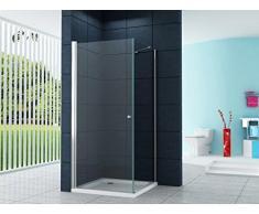 La entrada en curva Cabina de ducha Ducha Munich-FIX 90 x 90 x 200 cm / 8 mm / con plato de ducha y sifón